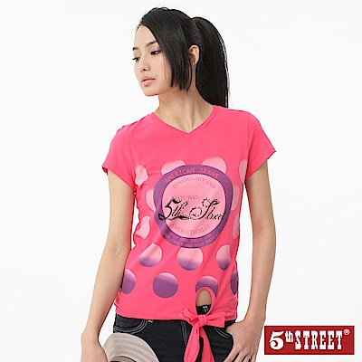 【5th STREET】活力滿點 漸層泡泡綁帶T恤-女款(桃紅)