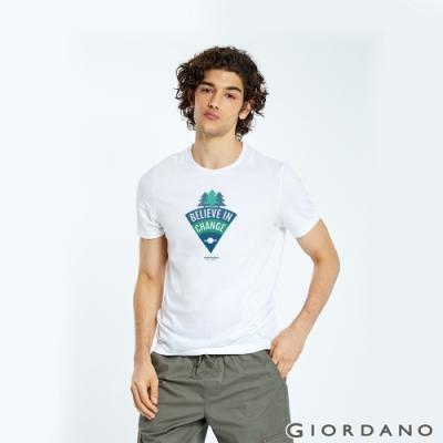 GIORDANO 男裝DEAR WORLD系列印花T恤-61 標誌白