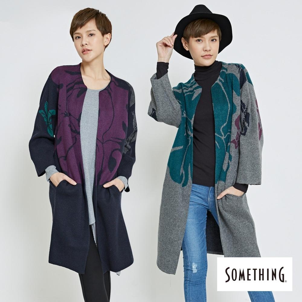 [時時樂限定] SOMETHING 女款鳶尾花長版毛衣外套(2色)