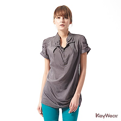 KeyWear奇威名品     天然纖維條紋特殊剪裁上衣-灰色