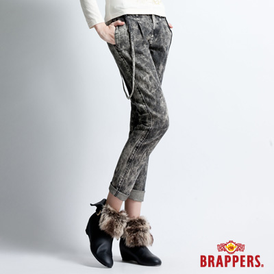BRAPPERS 女款 Boy Firend Ballon系列-燈籠3D八分吊帶反摺褲-黑雪花