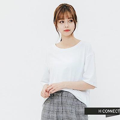 H:CONNECT 韓國品牌 女裝-竹節棉圓領T-shirt-白