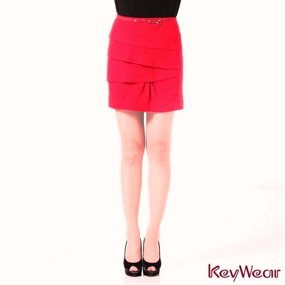 KeyWear奇威名品     OL最愛典雅蛋糕短裙-紅色