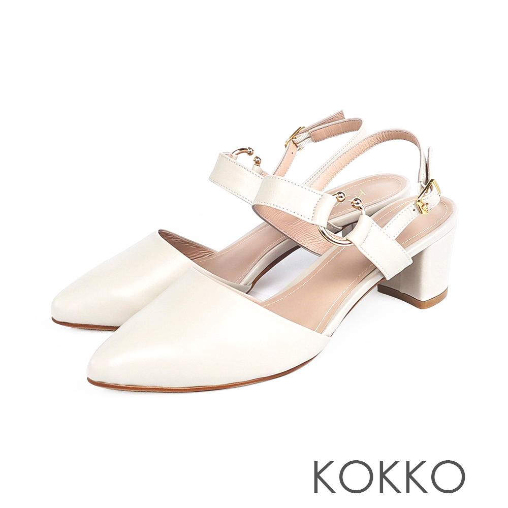 KOKKO - 法國香頌曲尖頭粗跟涼鞋-天使白