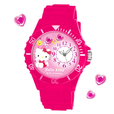 Sanrio三麗鷗偏機芯貼鑽系列運動彩帶錶-Hello Kitty氣球凱蒂貓40mm桃紅色