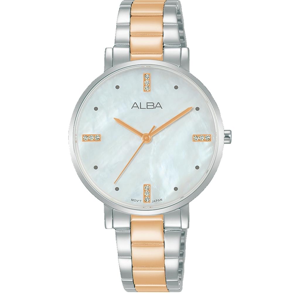 ALBA 雅柏浪漫白蝶貝面盤不鏽鋼帶女錶-玫瑰金-32mm(AH8875X1/VJ21-X178KS)