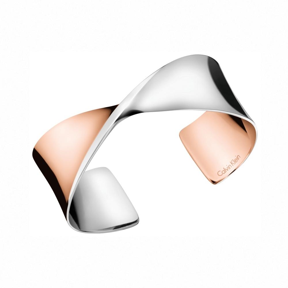 CALVIN KLEIN Supple 系列玫瑰金雙色手環-M