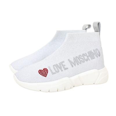 LOVE MOSCHINO 貼鑽字母低筒襪套運動鞋(銀蔥白)