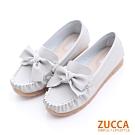 ZUCCA-車縫朵結平底休閒鞋-灰-z6501gy