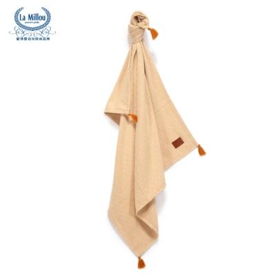 【La Millou】 Tender 100%純棉針織毯(民族風)93x100cm-卡其黃-嬰兒毯