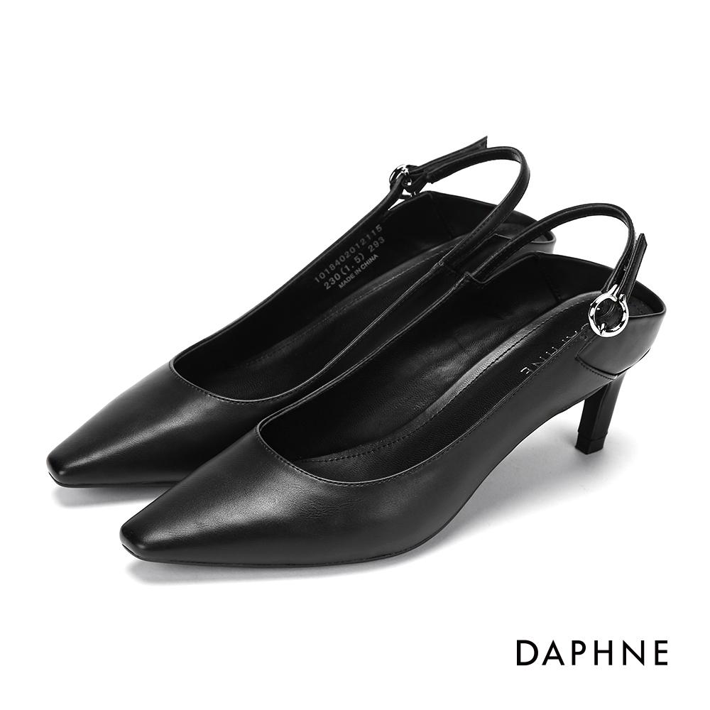 達芙妮DAPHNE 高跟鞋-繞踝繫帶後挖空拼接高跟鞋-黑