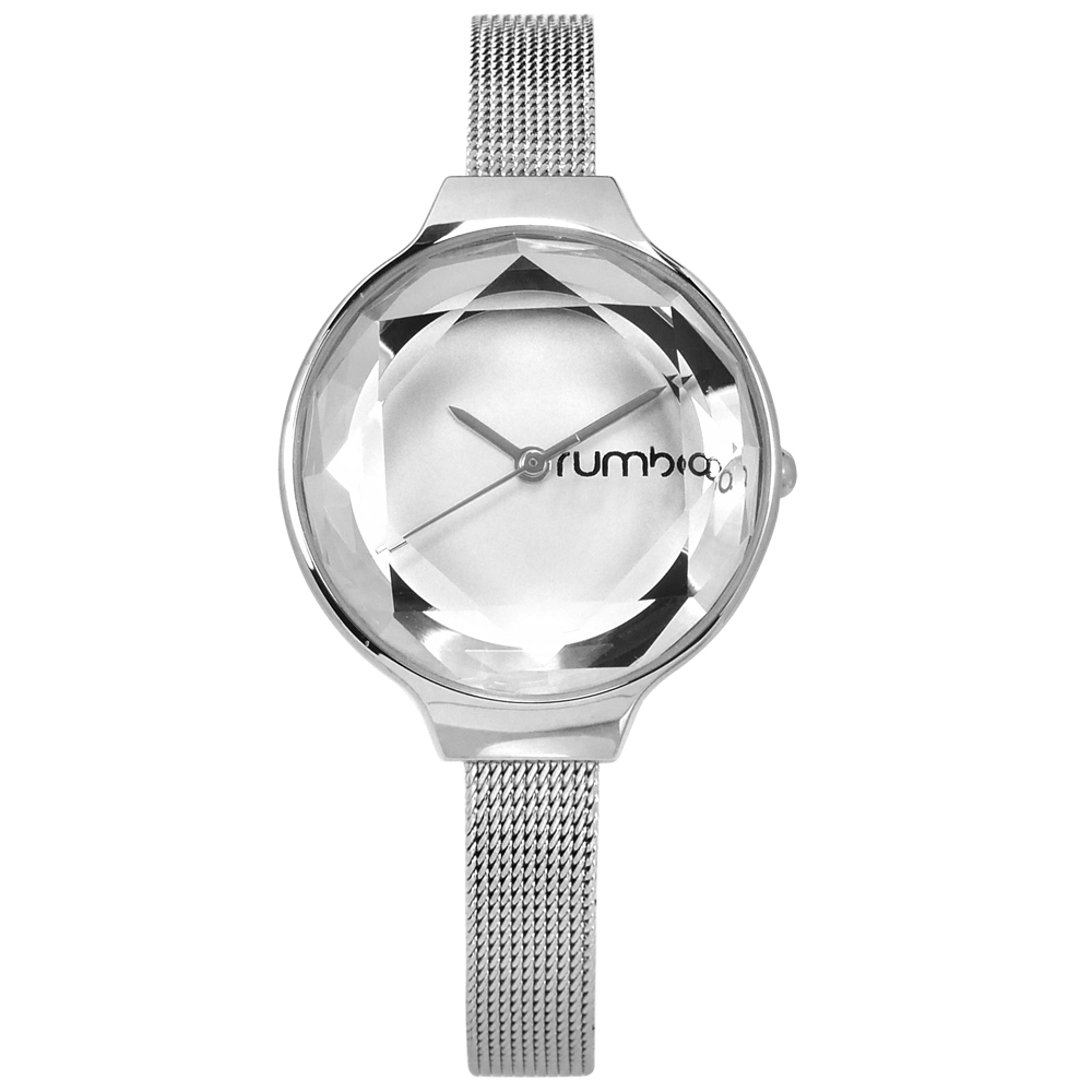 rumba time 紐約品牌 切割玻璃鏡面 米蘭編織不鏽鋼手錶-銀色/30mm