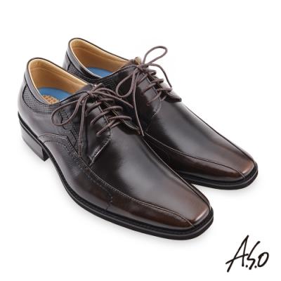A.S.O  菁英通勤綁帶德比紳士鞋-茶