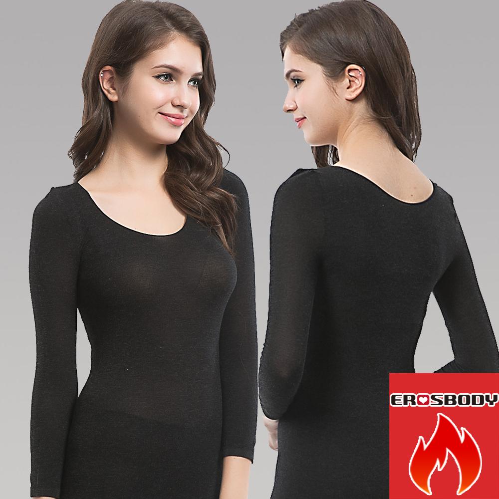 EROSBODY 女日本機能纖維針織衛生衣保暖發熱衣 黑色