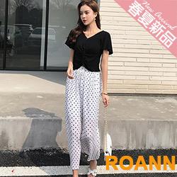 V領上衣+點點九分寬褲兩件套 (白色)-ROANN