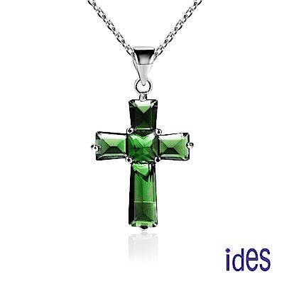 ides愛蒂思 歐美設計彩寶系列綠寶碧璽項鍊/古典十字架