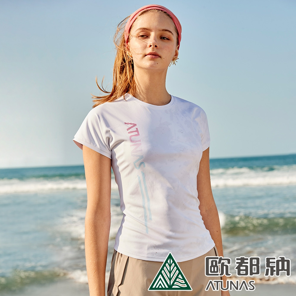 【ATUNAS 歐都納】女款Polygiene抑菌抗臭涼感短袖T恤A1TS2106W冰霜白/防曬透氣/吸濕排汗