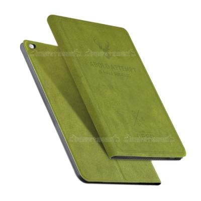 VXTRA iPad Air/Air 2 9.7吋 北歐鹿紋立架平板皮套(森林綠)