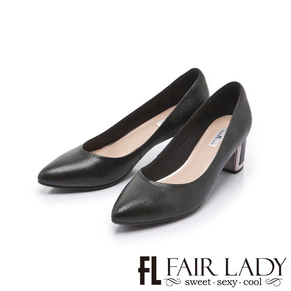 FAIR LADY 優雅小姐Miss Elegant 格紋尖頭粗跟鞋 黑