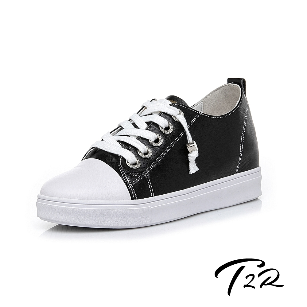 T2R-正韓空運-真皮帆布鞋小白鞋隱形增高鞋-增高6公分-黑