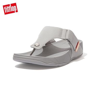 【FitFlop】TRAKK CANVAS TOE-POST SANDALS 經典帆布夾腳涼鞋-男(灰白色)
