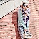 IREAL幾何圖配色絲巾/圍巾