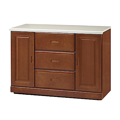 綠活居 莎曼珊時尚3.8尺雲紋石面餐櫃/收納櫃-114.8x48x82cm-免組