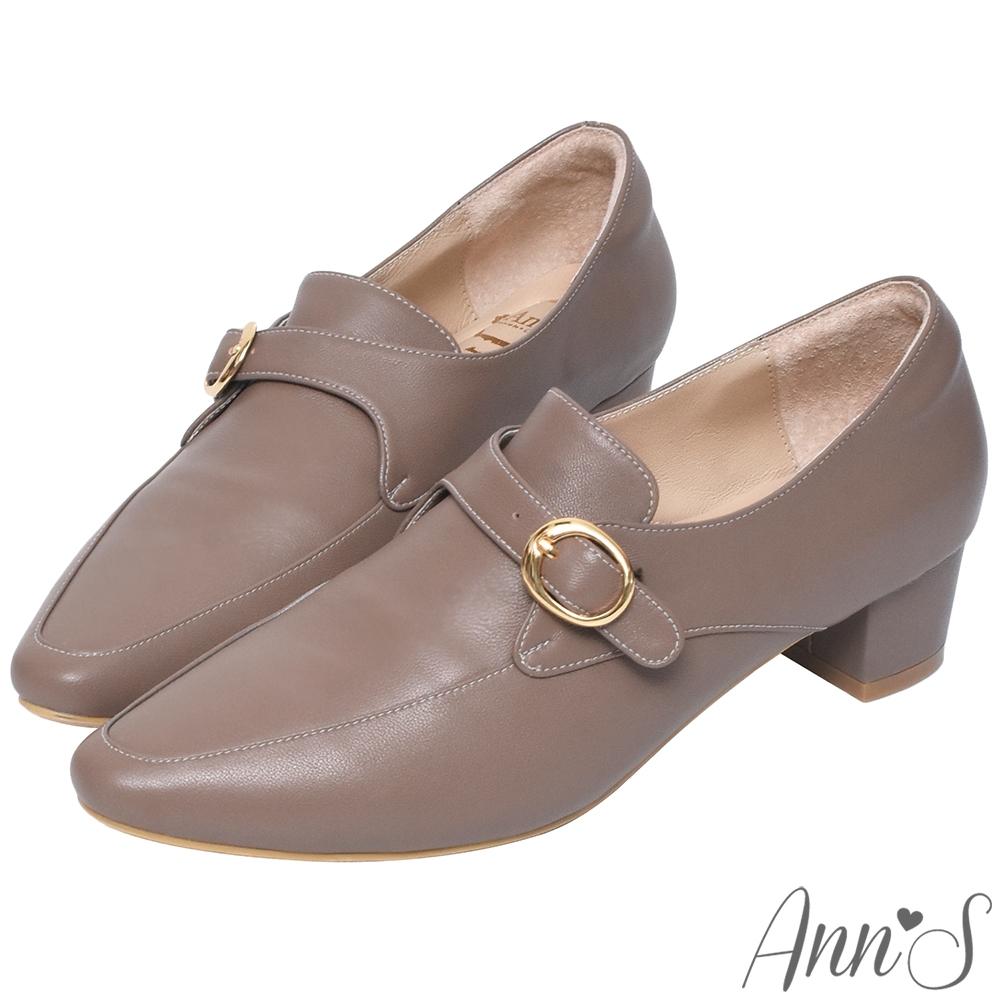 Ann'S手工製作頂級綿羊皮氣質金扣低跟踝靴-咖
