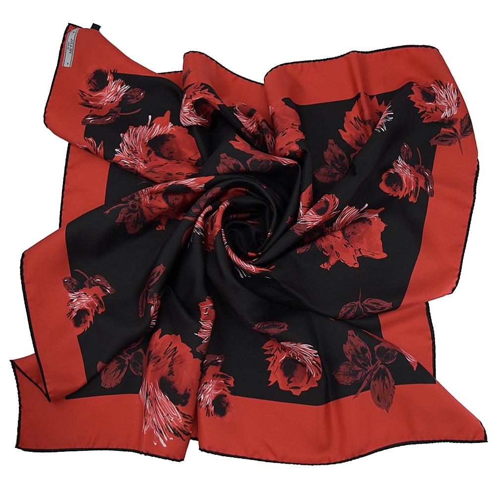 PRADA 玫瑰造型純蠶絲大方巾/絲巾(黑/紅)