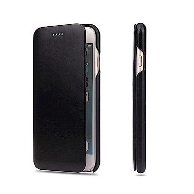 Fierre Shann 商務紋 iPhone 7/8 Plus 磁吸側掀 手工皮套