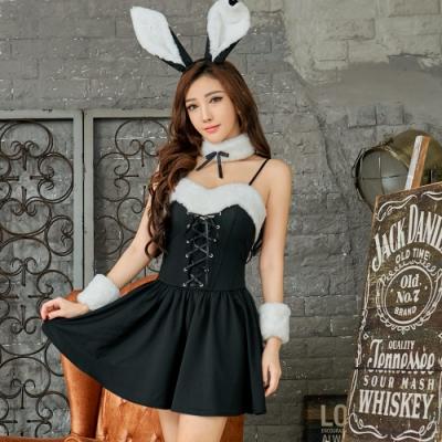 Sexy Cynthia 角色扮演 經典黑白配兔女郎角色扮演服五件組-黑F