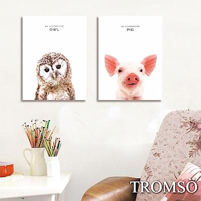 TROMSO 時尚無框畫-小豬貓頭鷹