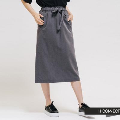 H:CONNECT 韓國品牌 女裝 - 質感綁帶後開衩長裙 - 灰