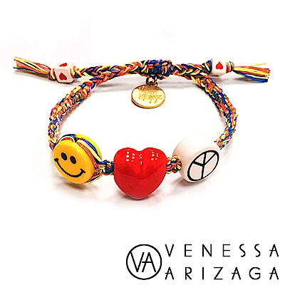 Venessa Arizaga PEACE LOVE HAPPINESS 愛心笑臉彩色手鍊