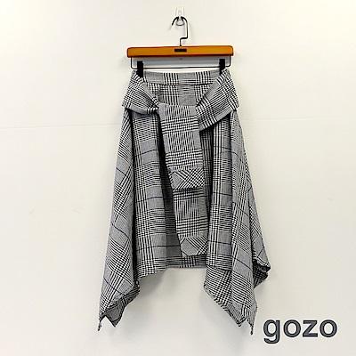 gozo 復古千鳥紋格假二件綁帶裙(黑色)