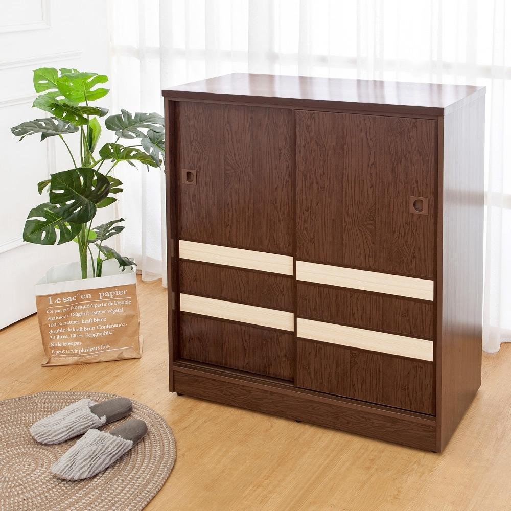Birdie南亞塑鋼-2.9尺拼接飾條二推/拉門防水塑鋼鞋櫃(胡桃色+白橡色)-88x41x104cm