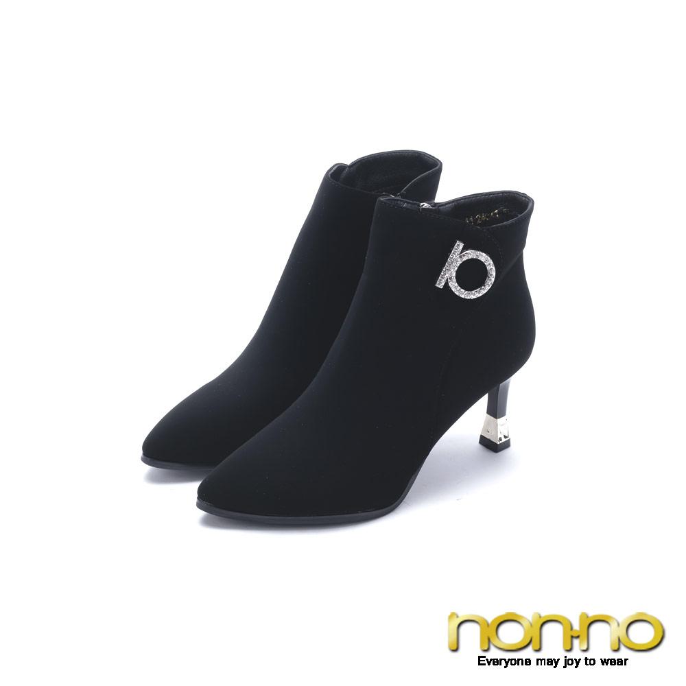 nonno 諾諾 亮鑽時尚拉鍊細跟短靴 黑