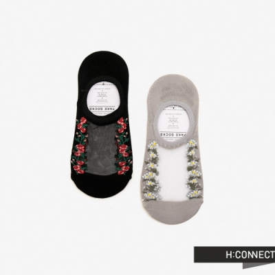 H:CONNECT 韓國品牌 配件 -小花網紗隱形襪組