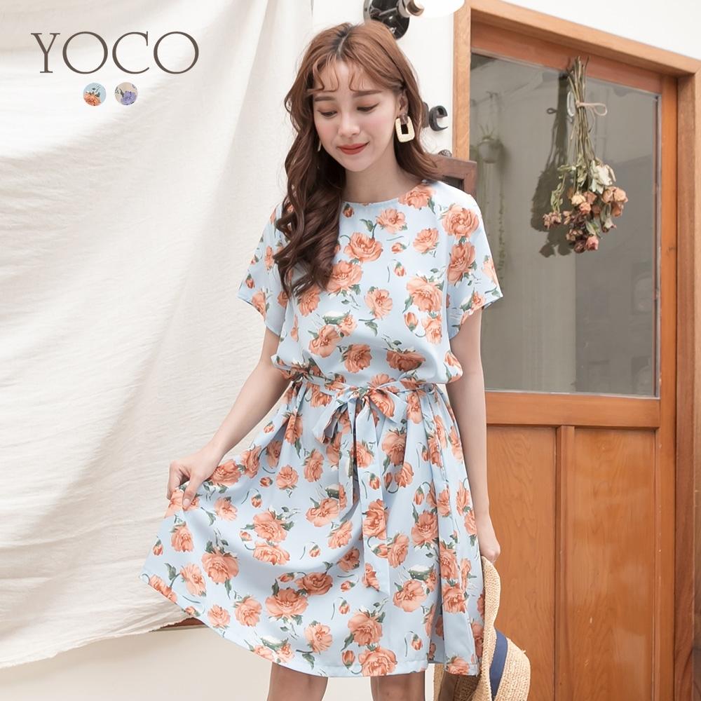 東京著衣-YOCO 奢華氣質不易皺印花綁帶雪紡洋裝-S.M.L(共二色)