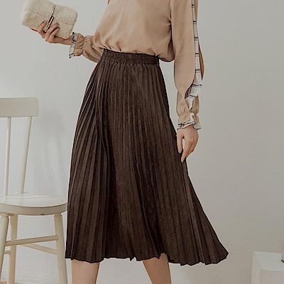 純色質感仿麂皮腰鬆緊百褶中長裙-OB大尺碼