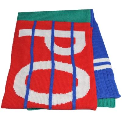 RALPH LAUREN POLO 字母LOGO混羊毛運動風圍巾(紅/綠/寶藍色系)