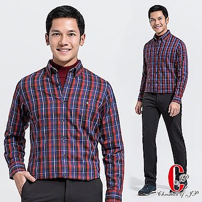 Christian 時尚都會格紋棉料休閒襯衫 _紅藍(RW515-55)