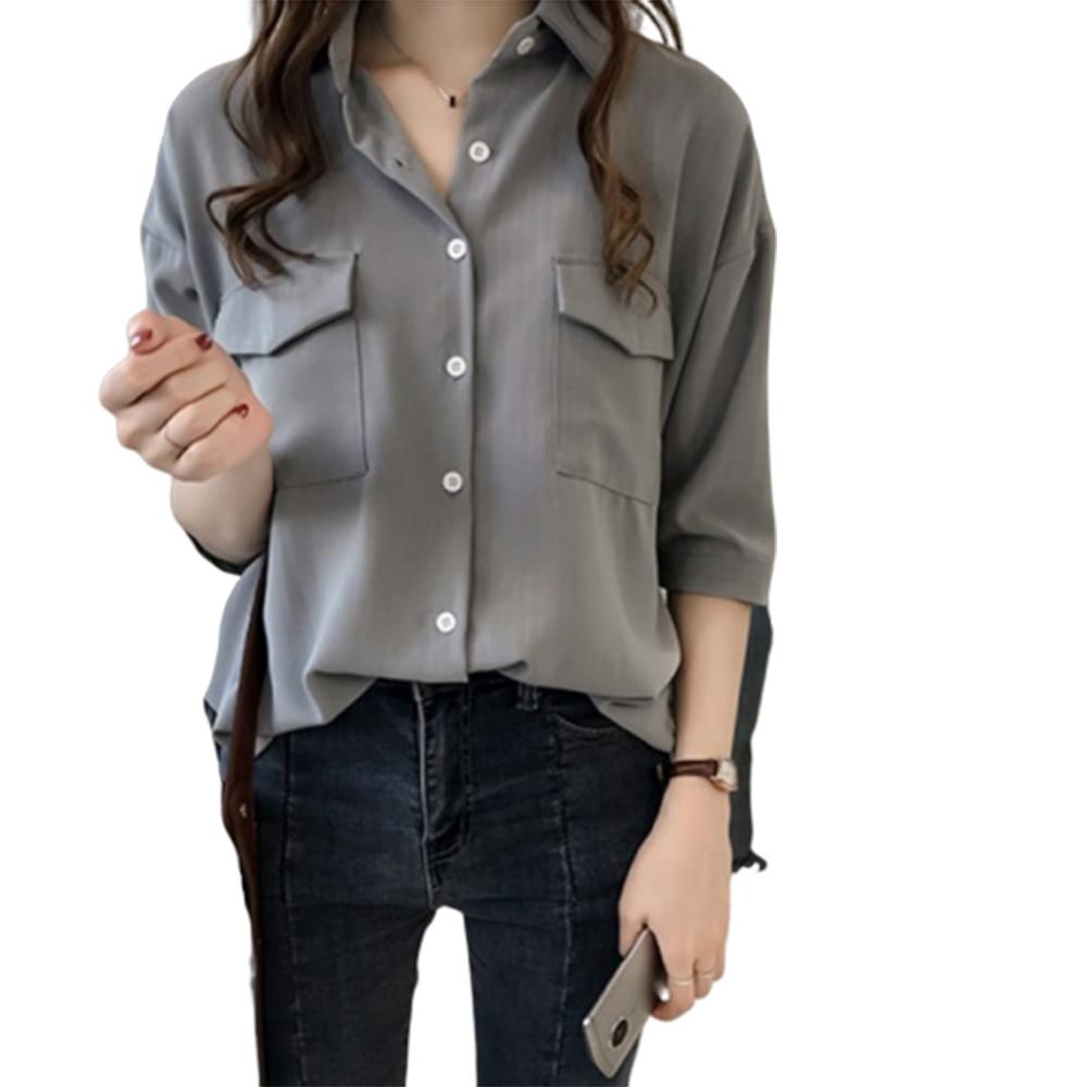 【LANNI 藍尼】簡單日常翻領襯衫式上衣-2色(M-4XL)●