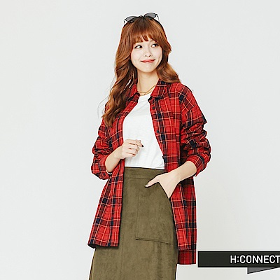 H:CONNECT 韓國品牌 女裝-貼布拼接格紋襯衫-紅