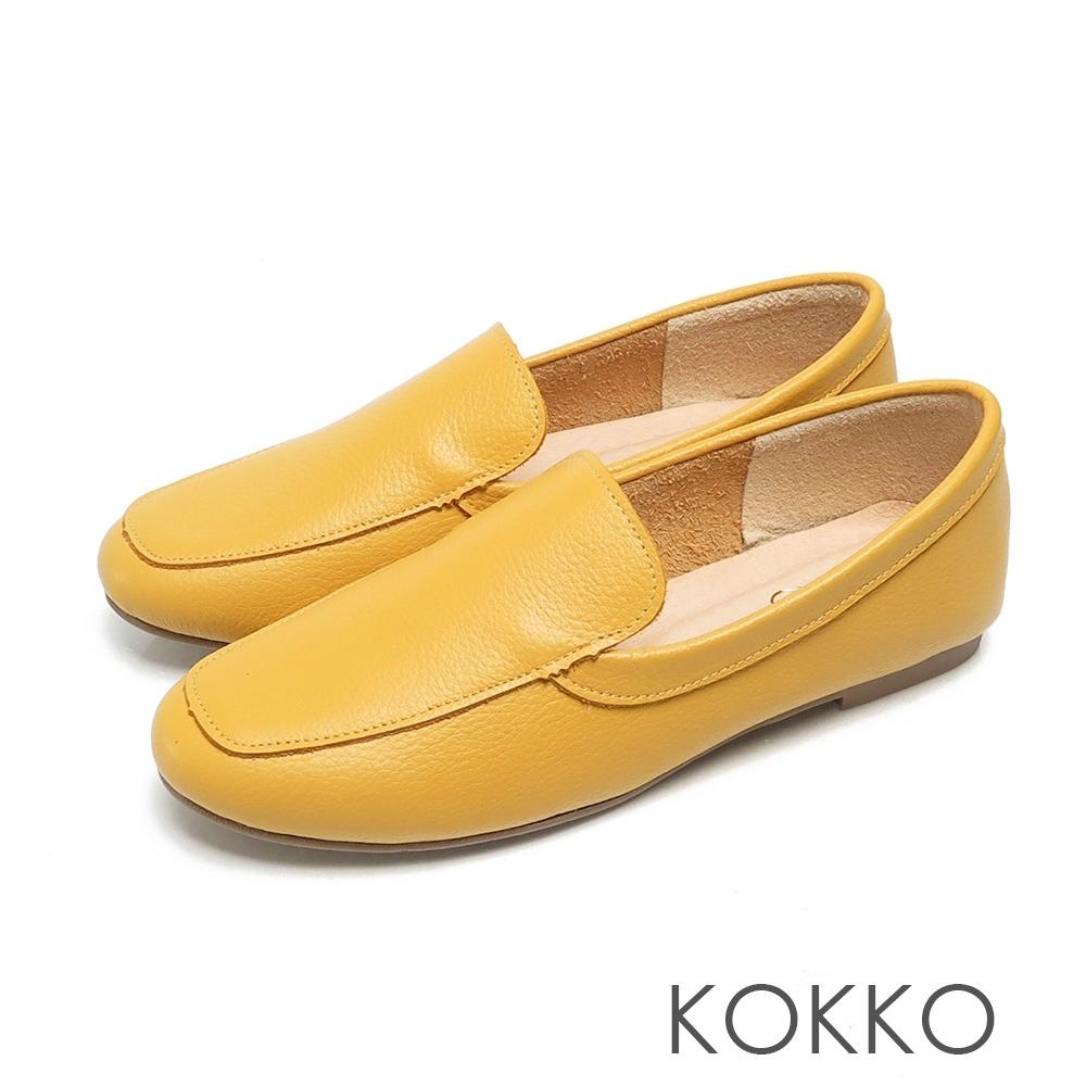KOKKO超彈力寬版平底素面小牛皮休閒鞋亮麗黃
