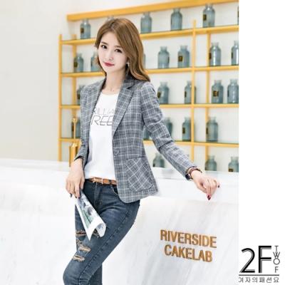 2F韓衣-韓系格紋氣質西裝外套-2色