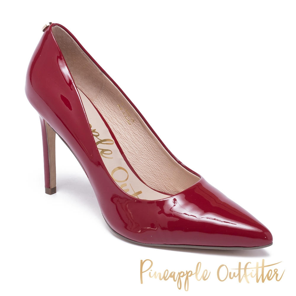 Pineapple Outfitter-GABRIELA 羊皮素面尖頭高跟鞋-鏡紅