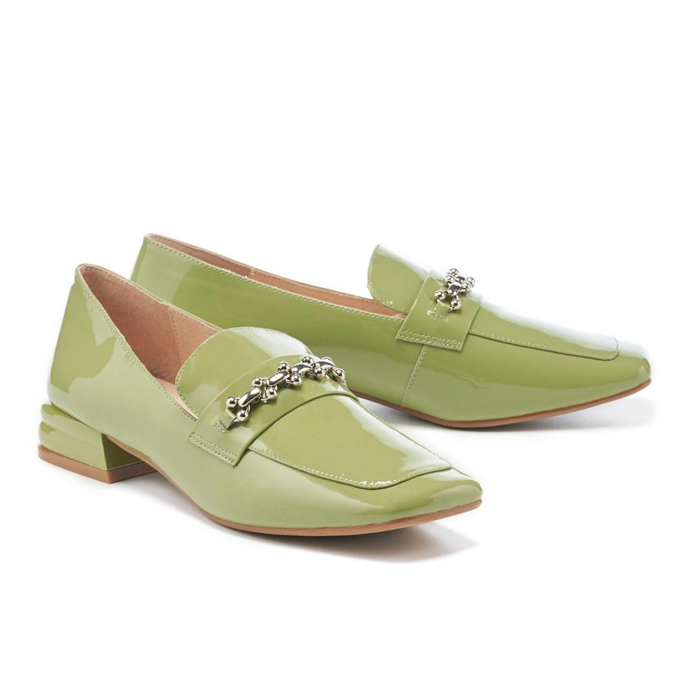 低跟鞋 MISS 21 氣質小姐姐漆皮金屬鏈條方頭樂福低跟鞋-綠