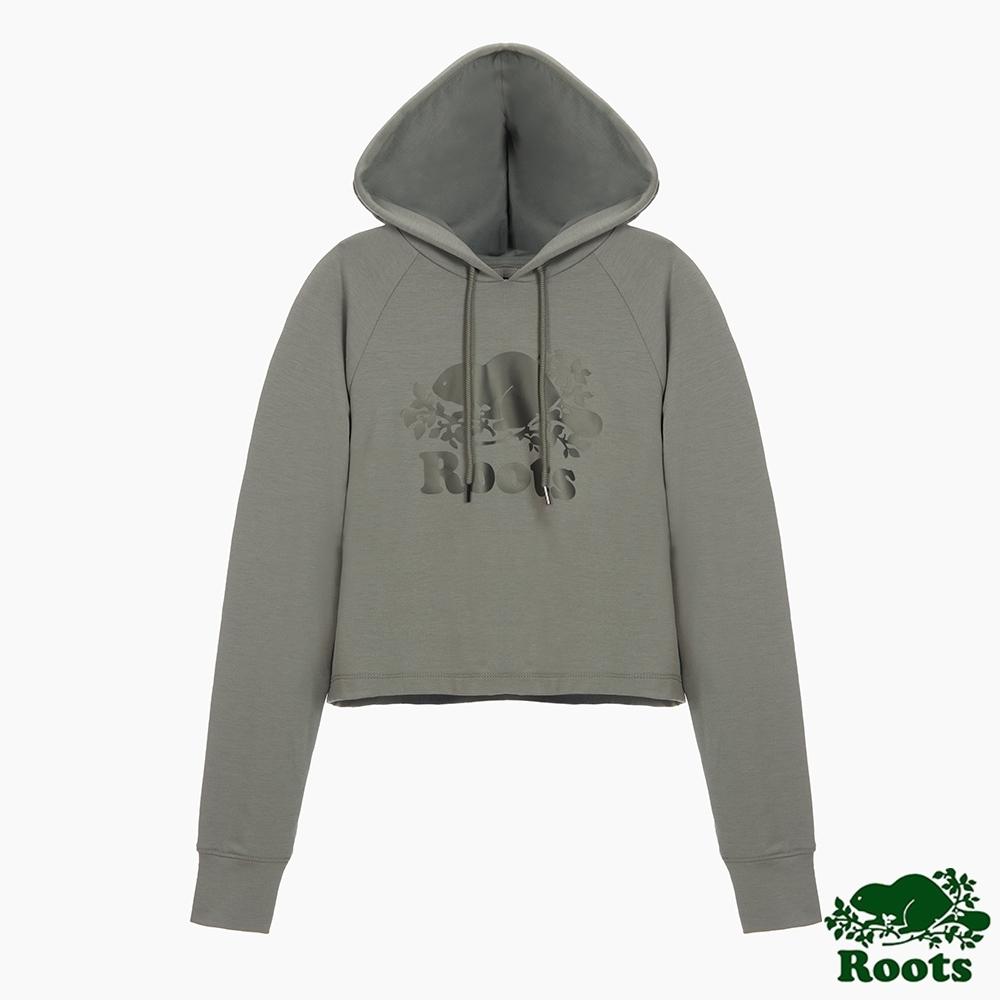Roots女裝-柔焦金屬系列 金屬色海狸LOGO寬短版連帽上衣-灰色
