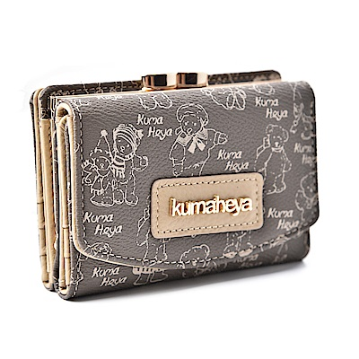kuma heya -美國熊奶茶色3層式夾扣零錢袋短夾